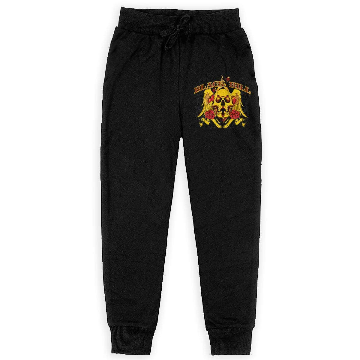 Xinding Boys Fashion Training Sweatpants Black Hill Adjustable Waist Trousers with Pocket