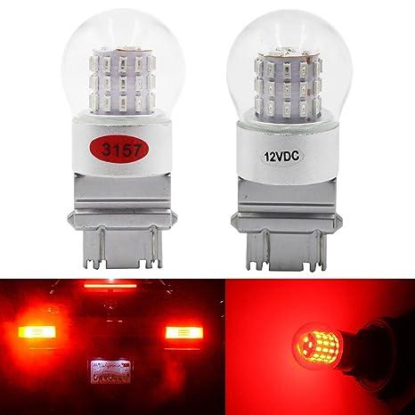 AMAZENAR Paquete de 2 3156 3157 3056 3057 luz LED Roja de Baja Potencia Extremadamente Brillante