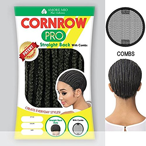 [Amore Mio - CORNROW PRO CAP - Straight Back (with Combs) MEDIUM Mesh Weave Cap in OFF BLACK] (Cornrow Wigs)