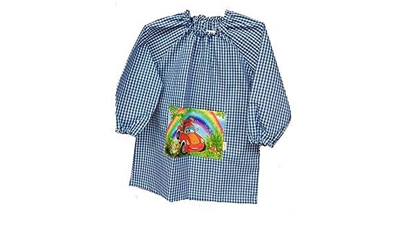 Bata de colegio talla 4 vichy azul con bolsillo delantero (dibujo de coche) y cuello con goma: Amazon.es: Ropa y accesorios