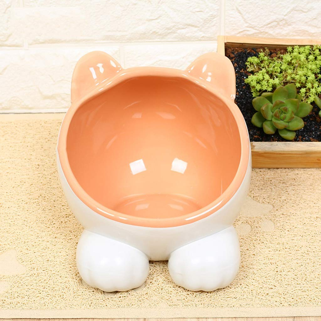 orange Cat Bowl Oblique Bowl Cat Water Bowl Ceramic Pet High Bowl Cat Rice Bowl Super Cute Pet Bowl (color   orange)