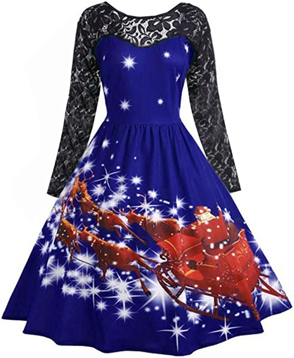 Christmas Lace Patchwork Long Sleeve Vintage Women Swing Dress Party Cocktail Robe Vestidos