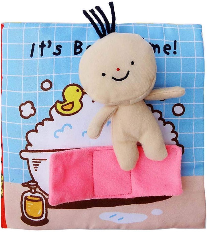 Scrox 1x Libros de Tela para Bebes ilustracion Libro Educativo Bebe 0-1-3 años Bañarse Inglés Libros Blandos Regalos para Bebes Juguete Interactivo 18 * 18cm (Baden)