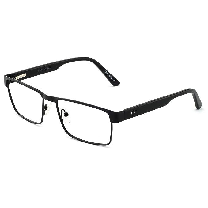 9117763168f1 OCCI CHIARI Man Black Rectangle Classic Metal Prescription Eyeglasses  Square Frame Spring Hinge Clear Lenses For man(54mm)  Amazon.co.uk  Clothing