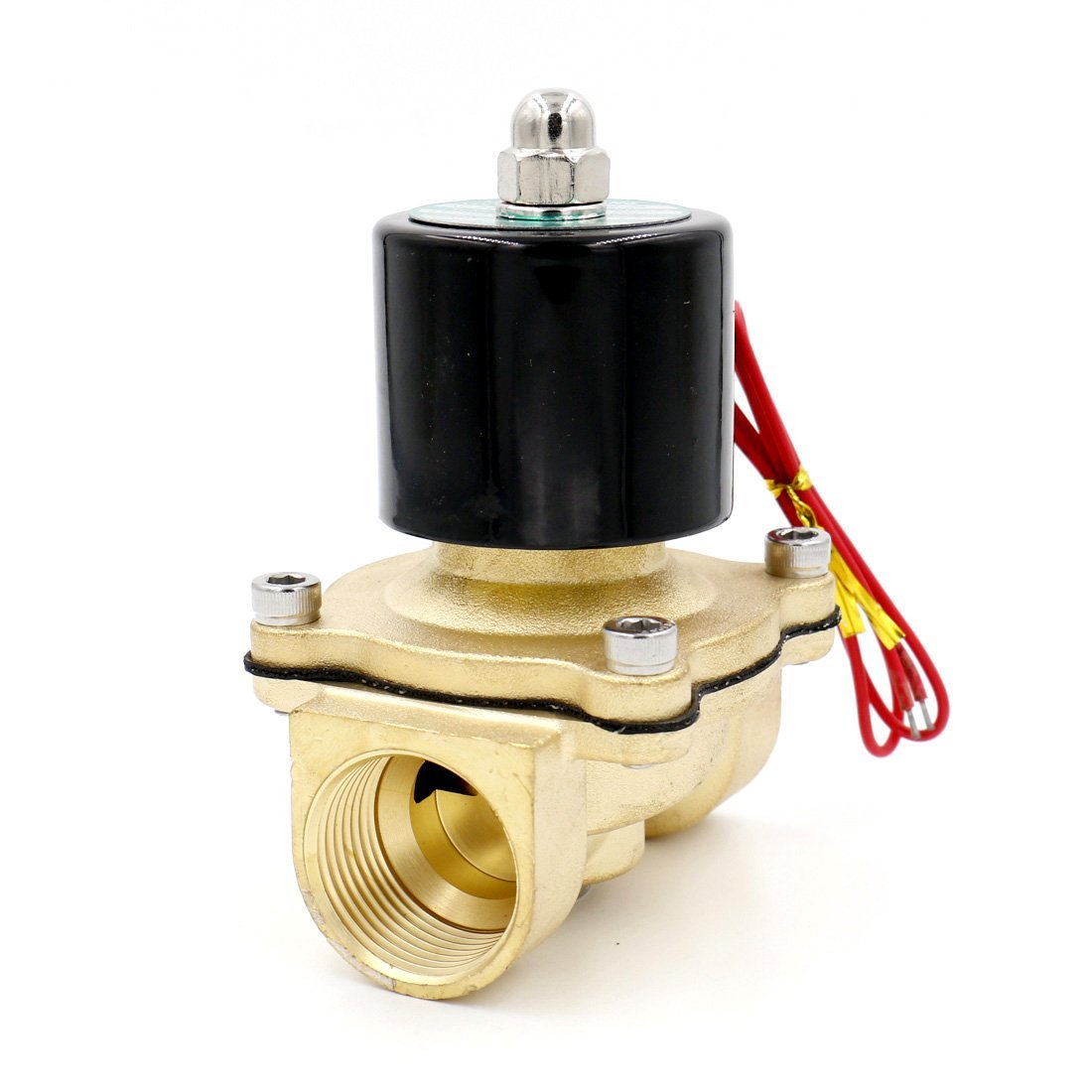Baomain 1 inch DC 24V Brass Electric Solenoid Valve Water Air Fuels NC Valve