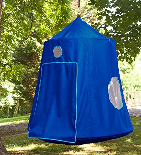 Family HugglePod HangOut Outdoor Hanging Tree Tent Playhouse with Battery Operated Interior LED Lights 6'H x 5' diam - Blue