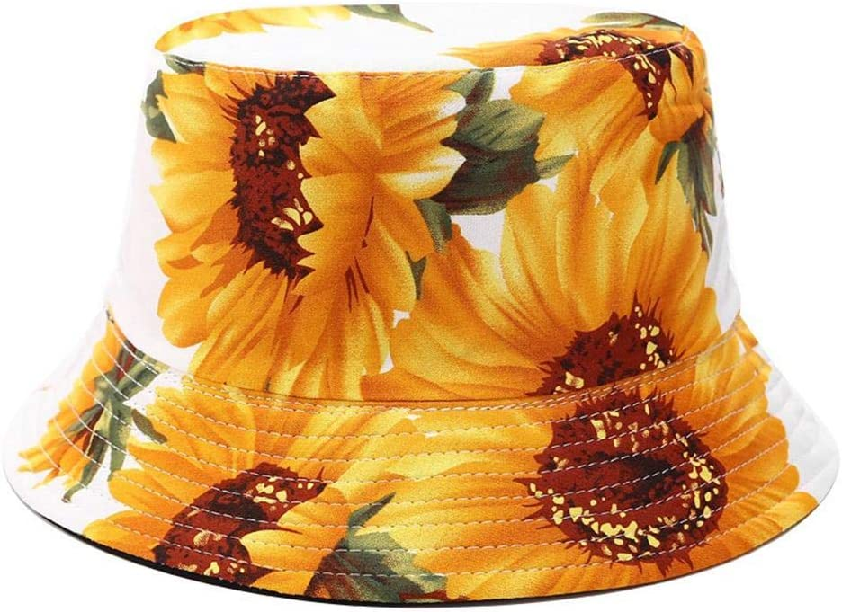 Bouder Sunflowers Printed Sun Protection Bucket Hat Women Foldable Casual Beach Hat with Wide Brimmed
