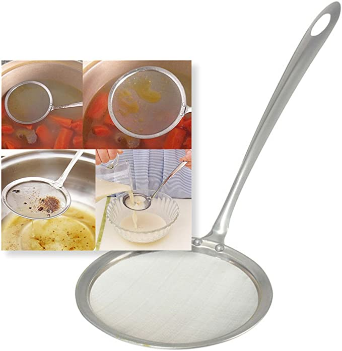 Acier inoxydable Maille fine /à lhuile /Écumoire Passoire Farine Passoire Tamis /Écumoire Louche ustensile de cuisine pour Hot Pot