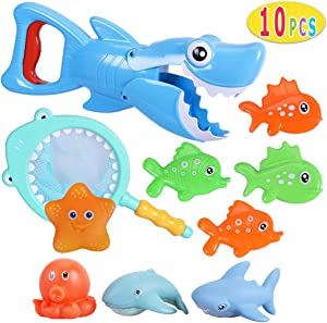 Max Fun Shark Bath Toys Set with Fishing Net for Toddlers Boys Girls with 4 Toy Fish Water Spray Floating Animals