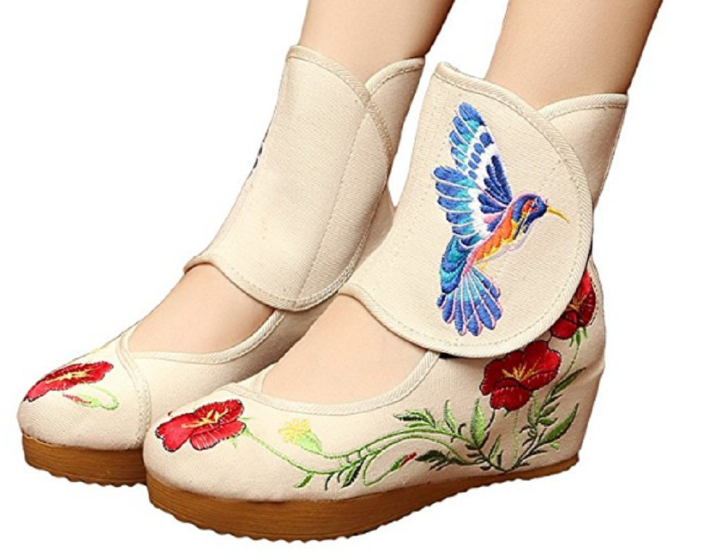 Tianrui Crown Ladies and Womens Hummingbird Embroidery Classy Platform Velcro Dancing Shoes B01MYU13TI 8 B(M) US|Beige