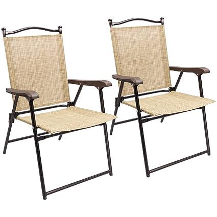 Devoko Patio Folding Deck Sling Back Chair Camping Garden Pool Beach Using  Chairs Space Saving Set
