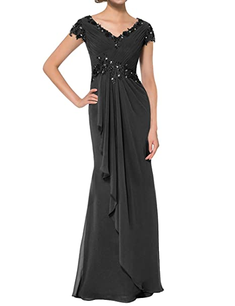 40e59e56c2 Mother of The Bride Dresses Long Chiffon Formal Evening Dress Prom Gown Cap  Sleeve Black US2
