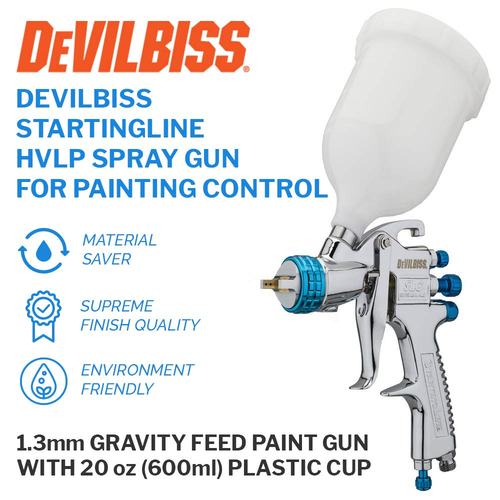 DeVilBiss STARTINGLINE HVLP Spray Gun for Painting Control 1.3mm Gravity Feed Paint Gun with 600milliliter Plastic Cup by DeVilbiss (Image #1)