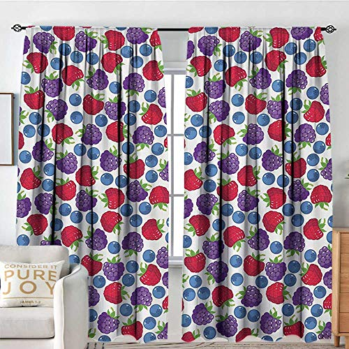 Petpany Window Blackout Curtains Colorful,Wild Fruits Collections Raspberry Blueberry and BlackBerry Fresh Healthy Options,Multicolor,for Room Darkening Panels for Living Room, Bedroom 120