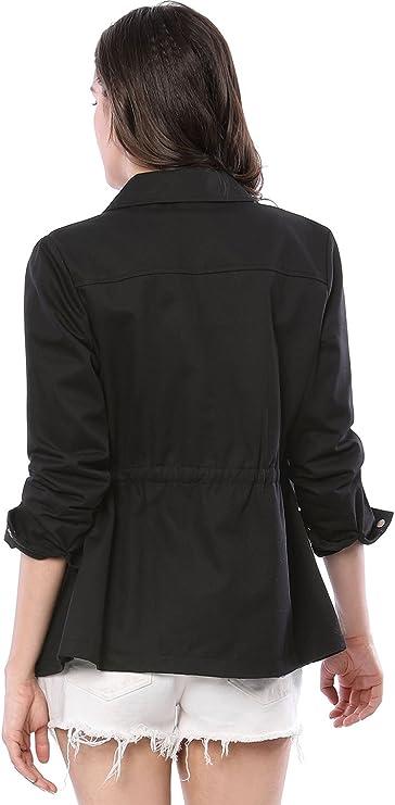 Allegra K Women Drawstring Waist Flap Pockets Utility Jacket