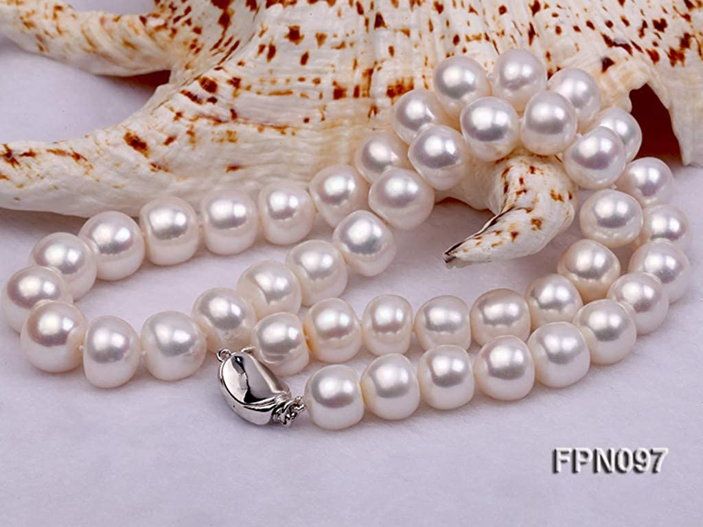 JYX Pearl Single-strand Necklace 12-13mm Round White Freshwater Cultured Pearl Necklace 18