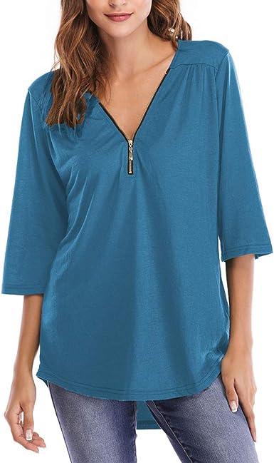 Qixuan Blusas con Cuello en V para Mujer Camisa Suelta sólida ...