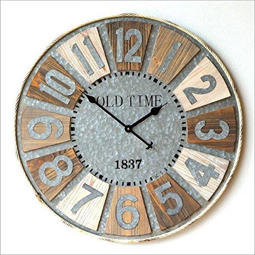 壁掛け時計 アンティーク レトロ 大きい 直径80cm 木製 ビッグな掛け時計 [peo6464] B0734HL5V7