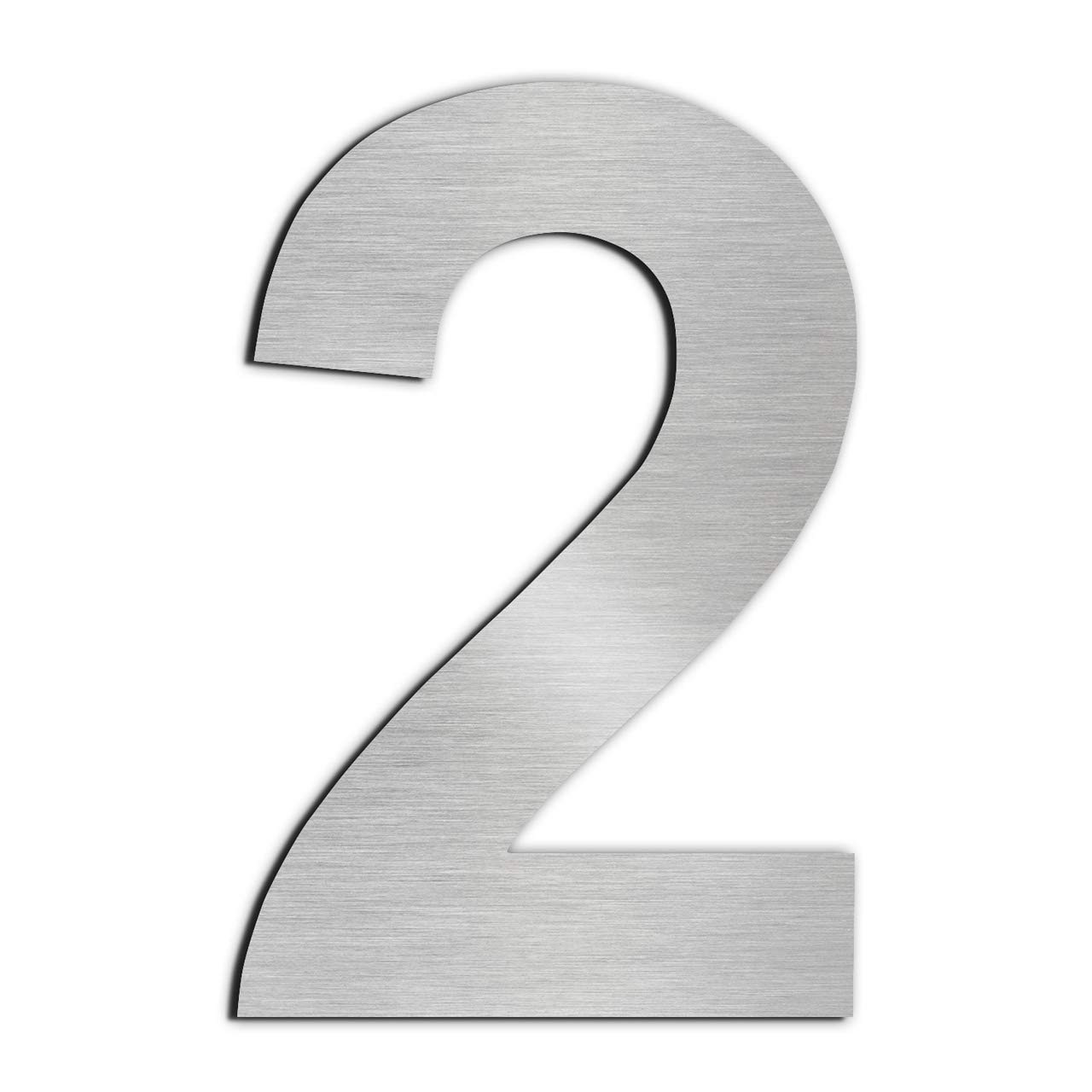 GFDesign Modern House Number 2 Floating Home Address Numerals Sign Plaque Heavy Duty Mount for Home Hotel Office Brushed Nickel Solid 304 Stainless Steel - 6 inches