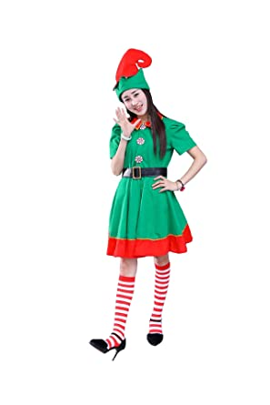 Christmas Elf Costume.Christmas Elf Costume Womens Holiday Elf Dress 4 Piece Set