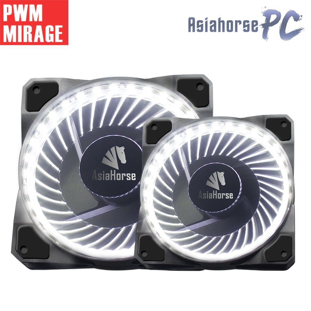 120mm pwm fan 2PACK Asiahorse Solar Eclipse Hydraulic Bearing quiet cooling case fan for computer 32 leds MIRAGE 1800 RPM connectors 4 pin with Anti Vibration Rubber Pads(WHITE)