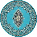 A2Z Rug Traditional Turquoise 8 Feet Round Mashad Collection Area rug Perfect for any floor & Carpet