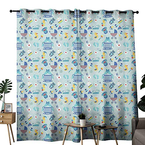 duommhome Baby Fashion Curtain Newborn Sleep Crescent Moon Pacifier Nursery Star Polka Dots Image 70%-80% Light Shading, 2 Panels,W120 x L96 Pale and Violet Blue Yellow