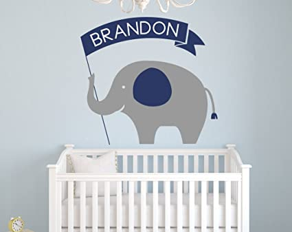 Amazon Com Personalized Name Elephant Wall Decal Custom Baby Boy