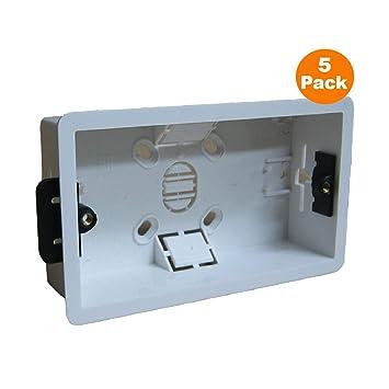 5 x Caja Posterior Revestimiento Seco Ras Pared Eléctrica Cuadrilla 2 Toma de Corriente Con Interruptor: Amazon.es: Hogar