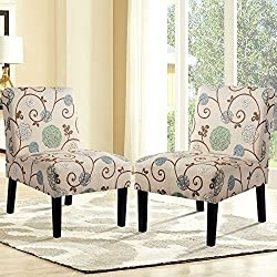 Harper&Bright Designs PP038488 Upholstered Accent Armless Living Room Chair Set of 2 (Beige/Floral)