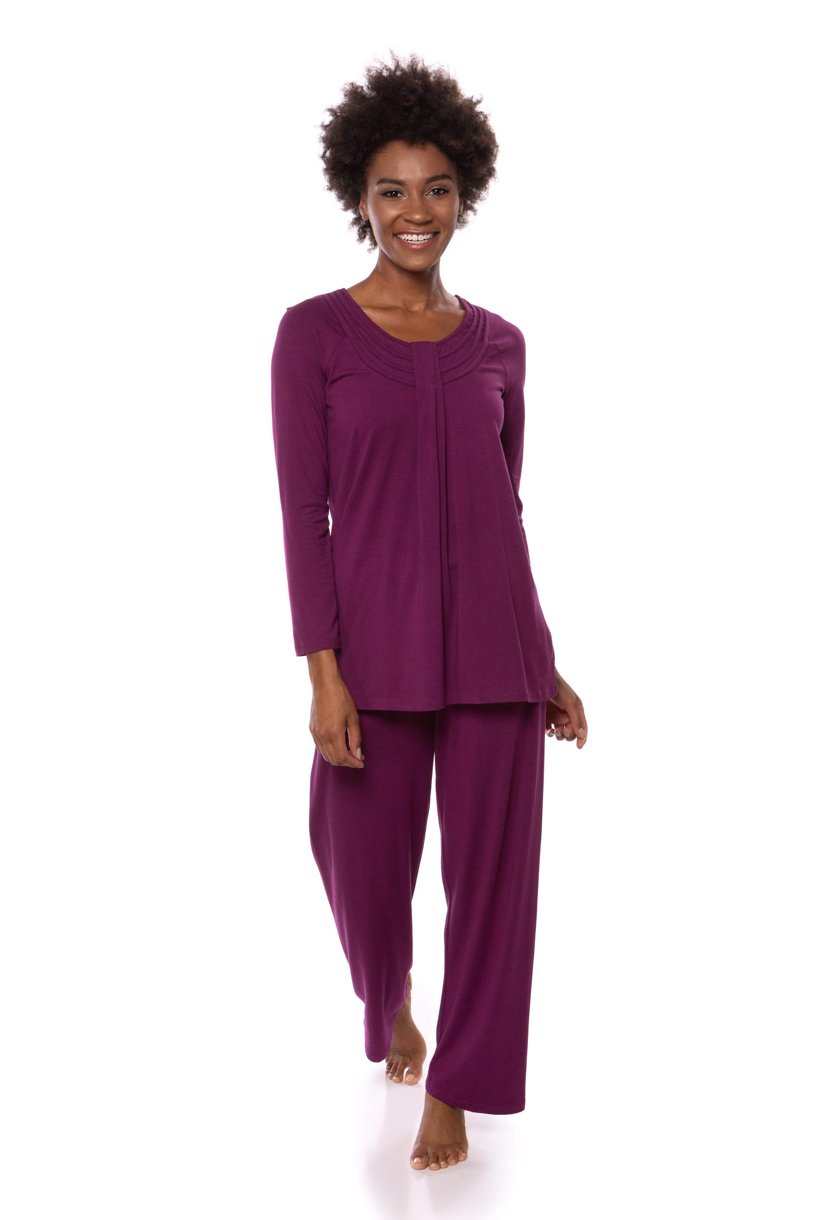 Women's Long Sleeve PJs in Bamboo Viscose (Replenish, Concord Grape, Medium/Petite) Classic Sleepwear for Her WB0006-CON-MP by TexereSilk