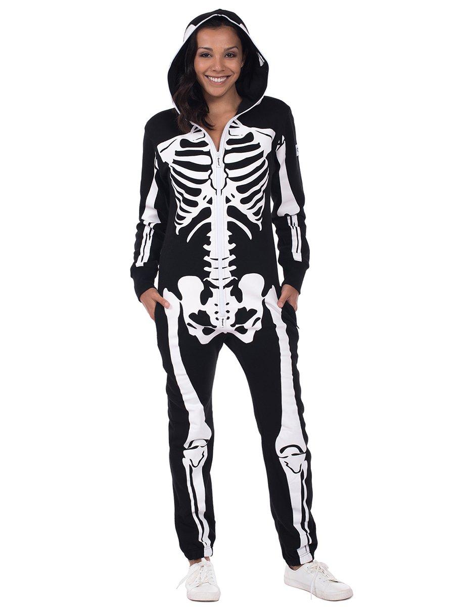 Tipsy Elves Women's Skeleton Halloween Costume - Skeleton Jumpsuit Onesie: Medium