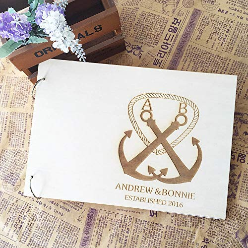 Yilooom Anchor Pattern Rustic Wood Wedding Favors Guest Book with Customized Wooden Photo Album Guestbook for Wedding