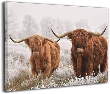 Scottish Cattle Wall Art Black /& White Cattle Artwork 3 Panels Animal Wall Decor 5 Panels Highland Cattle Canvas