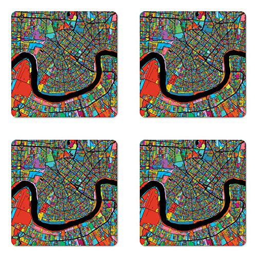 Ambesonne New Orleans Coaster Set of Four, Colorful Map of City with Mississippi River Districts and Highways New Orleans, Square Hardboard Gloss Coasters for Drinks, -