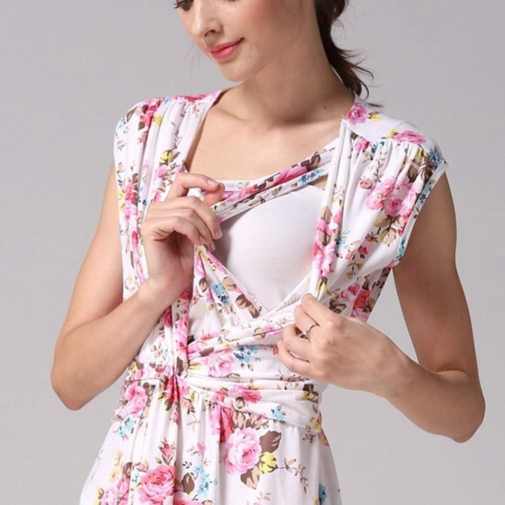 LEXUPA Womens Pregnancy Sleeveless Floral Print Breastfeeding Dress Nursing Sundress