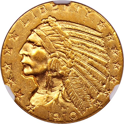 1910 P $5 Indian Gold Five Dollar AU55 NGC 1910 Gold Coin