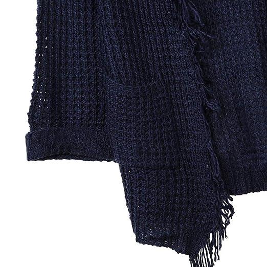 VJGOAL Mujer Otoño E Invierno Moda Casual Color sólido Manga Larga De Gran tamaño Suelta Buena Elasticidad Punto Suéter Cardigan Borlas Bolsillo Outwear ...