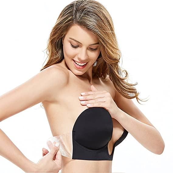 6aa94c2ec74 Gempack Push Up Adhesive Silicone Bra Deep U-Shaped Reusable Strapless  Backless Invisible Bra for Women  Amazon.co.uk  Clothing