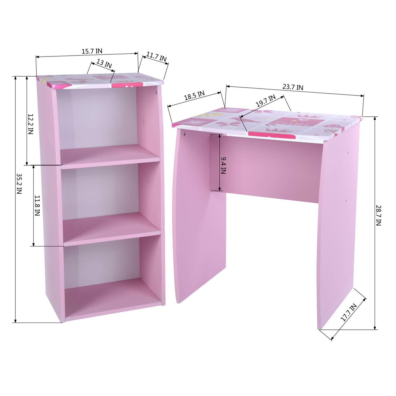 GreenForest Kids Desk with 3 Tier Storage Shelf Wood Computer Laptop Desk Set for Girls Study Desk Set Pink by GreenForest (Image #6)