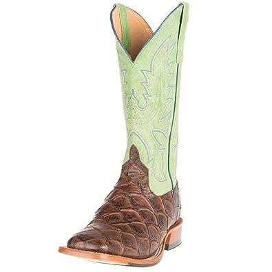 Mens Choc Siletsofish Green Sensation Cowboy Boots 12 D Brown