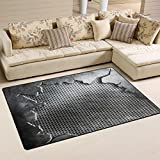 XiangHeFu Area Rugs Doormats Crack Metal Template Background Textures 5'x3'3 (60x39 Inches) Non-Slip Floor Mat Soft Carpet for Living Dining Bedroom Home