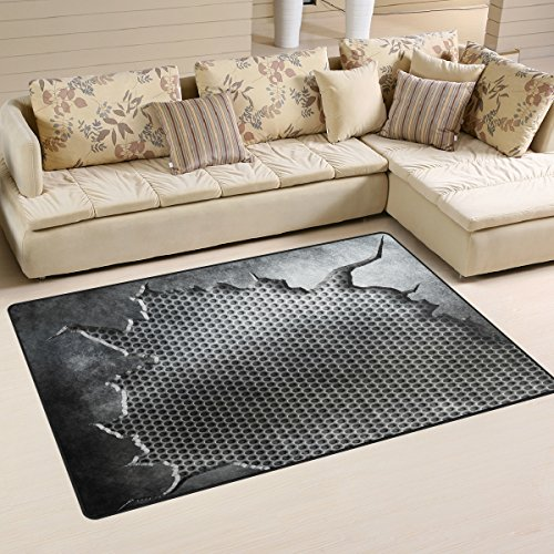 XiangHeFu Area Rugs Doormats Crack Metal Template Background Textures 5'x3'3 (60x39 Inches) Non-Slip Floor Mat Soft Carpet for Living Dining Bedroom Home by XiangHeFu