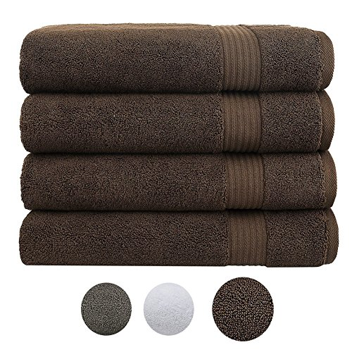 Cotton Paradise 2018 (New Collection) Luxury Hotel & Spa Collection, Turkish Towels, Oversized 27'x54′ Extra Large Bath Towel Set, 100% Combed Cotton Eco-Friendly, Set of 4 (Dark Brown)