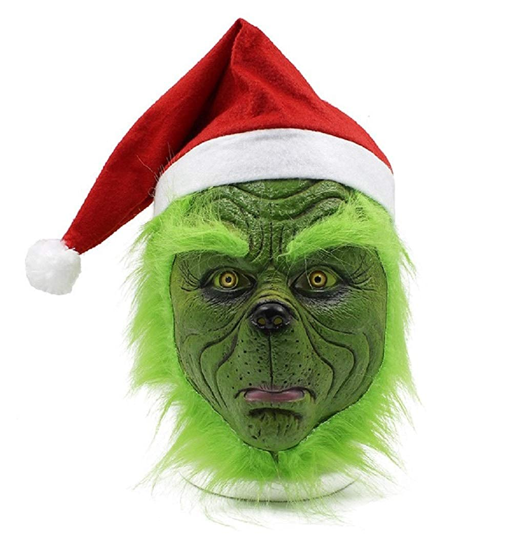 NECHARI Christmas Mask Seuss Deluxe Latex Green Full Head Christmas Fun with Red Hat and Green Mask
