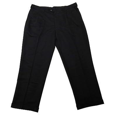 Savane Men's Dress Pants No Iron Microfiber Performance Comfort Waist Black Size 36x34 at Men's Clothing store