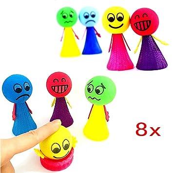 JZK 8 Espuma Emoji rebotando Bolas Emoticon Bouncy Ball Saltar para niños Juego pequeño Regalo de cumpleaños de Fiesta Caja de Caramelo de Juguete ...