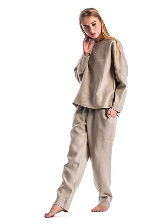 65b0ff708 ETNODIM Women's Pajamas Sleepwear Linen Sleep Long Sleeve Pants Pajama Sets  (Beige, 0-