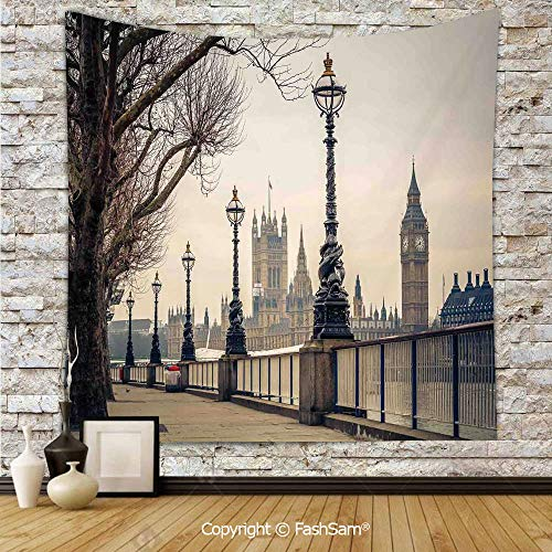 FashSam Polyester Tapestry Wall Big Ben and Houses
