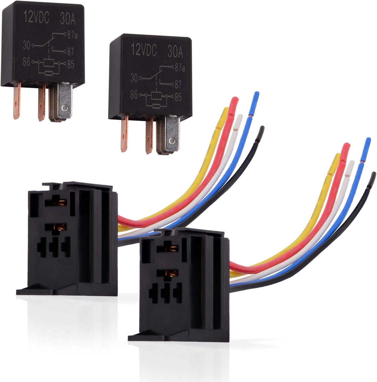 Ehdis® 5 Hilos Pin de retransmisión por Cable zócalo de Cables del Conector 12VDC 30A SPDT Multiusos Heavy Duty Standard Kits de relé para el Coche Automotive, Pack de 2